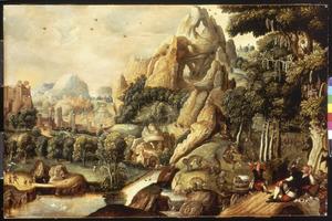 Berglandschap met apen en mensen; op de achtergrond een stad