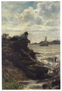 Herdersjongen aan een rivier