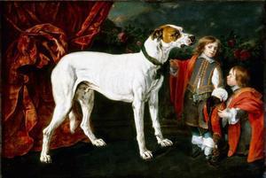Jongen en dwerg bij een grote hond