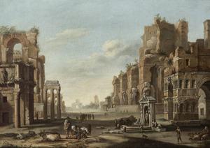 Fantasiegezicht op het Forum Romanum in Rome