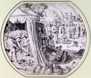 Achan begraaft zijn mantel en het zilver en goud uit de buit van Jericho in zijn tent