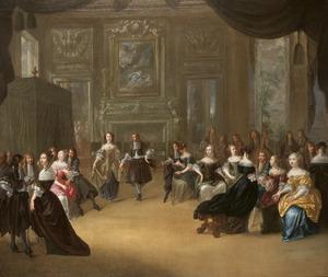 Een elegant paar dansend bij de muziek van een strijkkwartet in een salon met een groot gezelschap