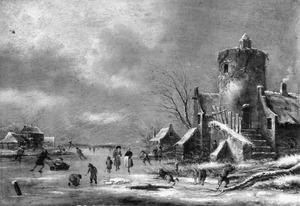 Winterlandschap metschaatsers bij een ruïne