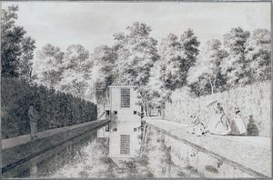 Gezicht op de vijver en de tuinkoepel van het huis Treslong