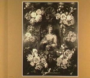 Bloemenkrans rond een voorstelling van een heilige
