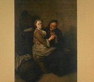 Rokend en drinkend boerenpaar in een herberg