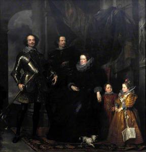 Groepsportret van Giacomo Lomellini (1570-1652), doge van Genua met zijn tweede echtgenote Barbara Spinola (?-?) en drie van zijn kinderen