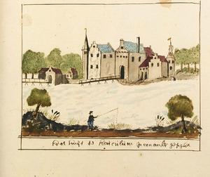 kasteel Heukelum voor de verwoesting in 1672, vanuit het zuidwesten