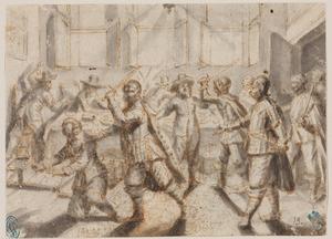 Historische scène met een overval op gasten aan een banket
