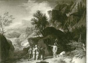 Woest berglandschap met Johannes de Doper predikend