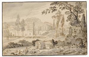 Klassiek landschap met figuren