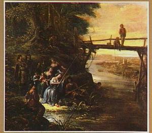 Vissend gezelschap onder een brug