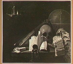Vanitas stilleven met een globe, muziekinstrumenten en een schedel