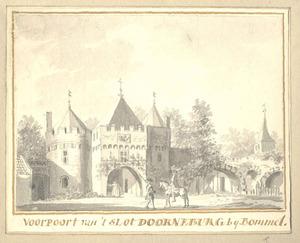 De voorpoort van het kasteel Doornenburg in Bemmel