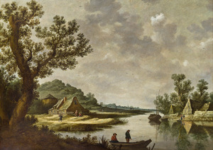 Rivierlandschap met hengelaars en boerderijen