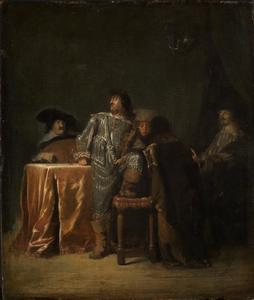 Vijf musicerende mannen in een interieur