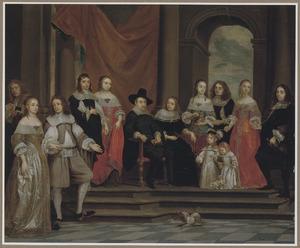 Portret van de familie van Melchior de Stanza (?-?), met zelfportret