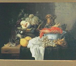 Stilleven van een mand met vruchten en een kreeft in een porseleinen kom