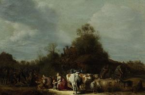 De verzoening van Jacob en Esau: Esau snelt Jacob tegemoet en omhelst hem. Deze stelt daarop zijn hele familie voor (Genesis 33:3-8)