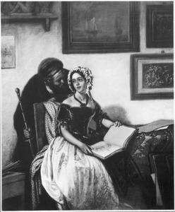 Kunstenaar en jonge vrouw in atelier
