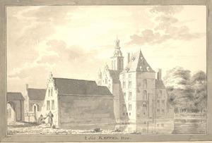 Slot Keppel te Keppel anno 1730 met de voorgebouwen