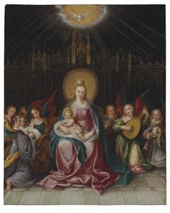 Tronende Madonna met musicerende engelen