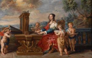 Portret van een vrouw als de  H. Cecilia spelend op een orgel, omringd door putti