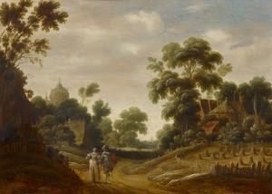 Bebost landschap met een wandelend paar
