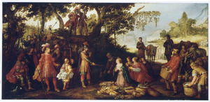 Boslandschap met de ontmoeting van David en Abigaïl, die hem mondkost voor zijn leger brengt (1 Samuel 25:23)