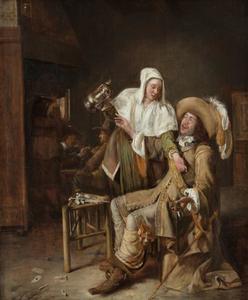 Herbergscène met een dienstmeid, die het lege glas van een cavalier probeert te vullen