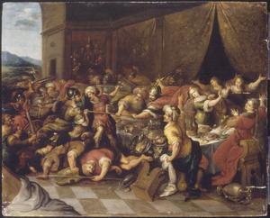 Phineus verstoort de bruiloft van Perseus en Andromeda