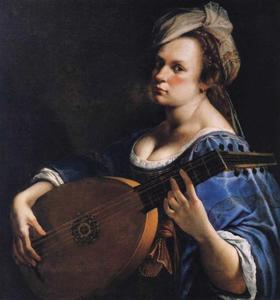 Zelfportret van Artemisia Gentileschi als luitspeelster