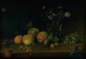 Stilleven met bloemen en vruchten op een tafel
