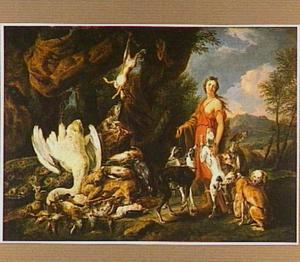 Diana met honden en jachtbuit in een landschap