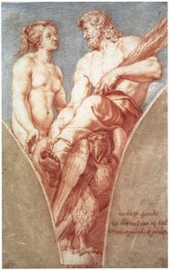 Venus verzoekt Jupiter Psyche geen toegang tot de Olympus te geven (uit: Lucius Apuleius, De gouden ezel)