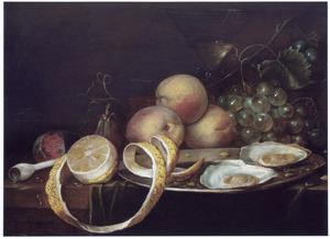Stilleven met vruchten, een pijp en oesters
