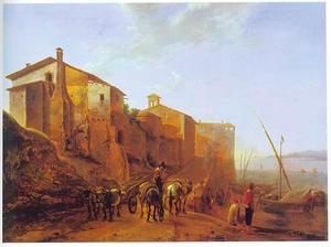 Gezicht op de Ripa Grande en Dogana Vecchia te Rome