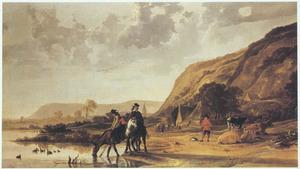 Rivierlandschap met ruiters en vee