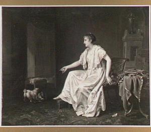 Interieur met dame en hondje