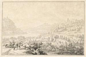 Landschap met twee hengelaars op een bruggetje