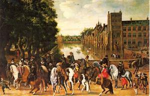 Prins Maurits (1576-1625) in het gezelschap van o.a. prins Frederik Hendrik, Frederik V (1596-1632) en diens vrouw Elisabeth Stuart, koning en koningin van Bohemen, op het Buitenhof te Den Haag