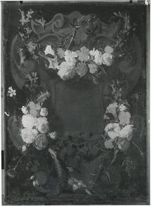 Cartouche versierd met bloemen