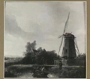 Landschap met molen aan een vaart
