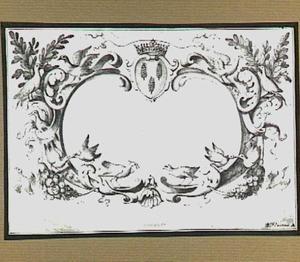 Cartouche met vogels en wapenschild, op de achtergrond een landschap