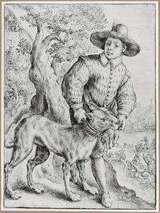 Jonge jager met hond met dode eend in de bek
