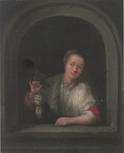 Meisje met druiven in een venster