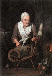 Oude vrouw aan een spinnewiel
