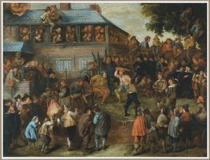 Dorpstafereel met een grote groep toeschouwers bij een toernooi