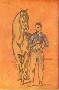 Paard met jongen in het blauw