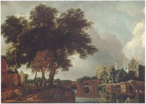 Landschap met een kasteel (kerk?) bij een brug